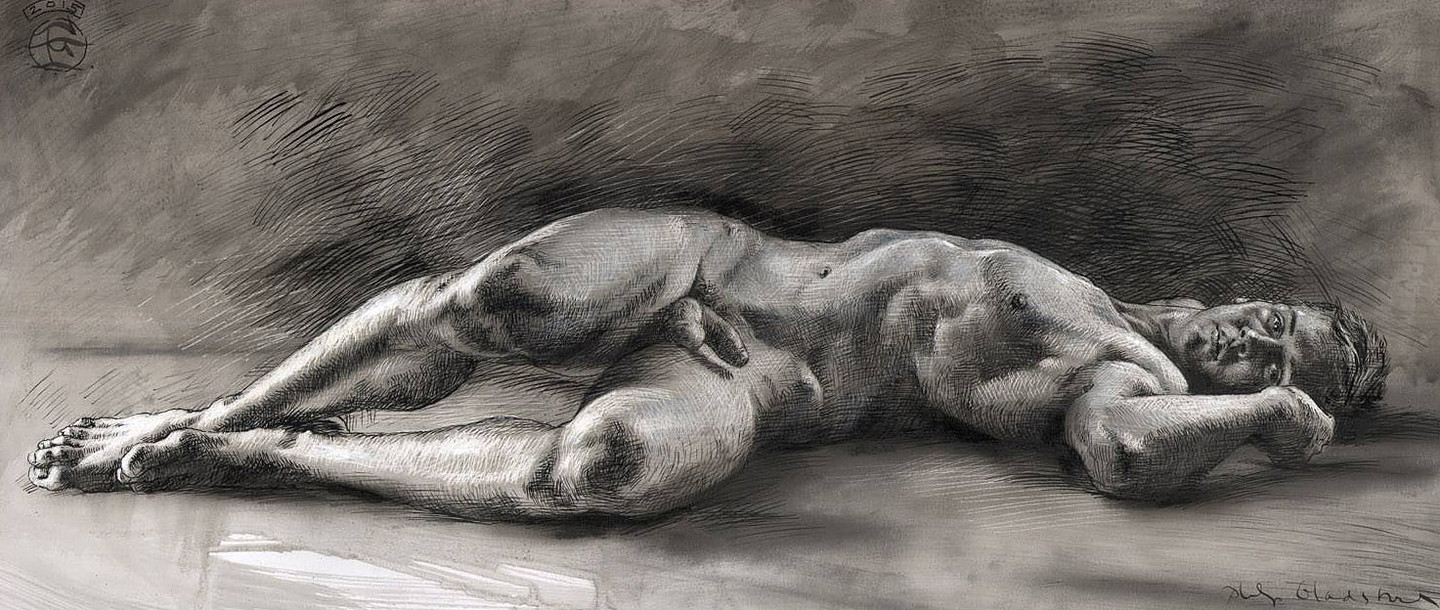 "Philip Gladsstone ""untitled (Reclining Male Nude)"""