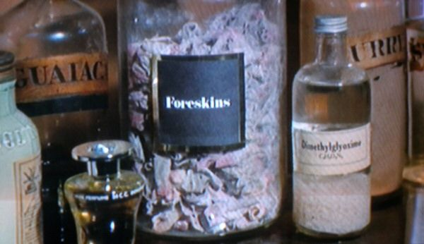 Jar of foreskins in ''The Wicker Man''