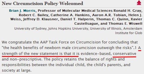 Morris et al: ''A strength of the AAP policy is that it is ... conservative...''