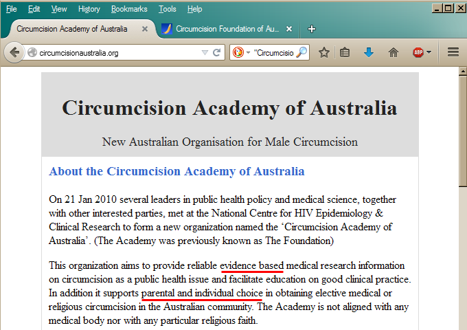 The Circumcision Academy of Australia's website