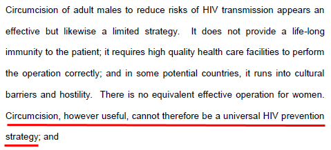 Circumcision, however useful, cannot therefore be a universal HIV prevention strategy