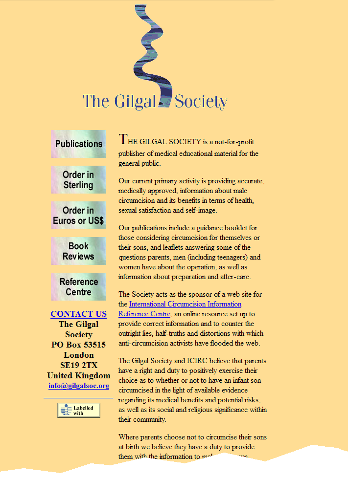 Gilgal Society website front page