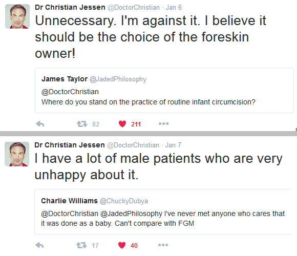 "quotation- Dr Christian Jessen ''against it, should be choice of owner' and ""I have many male patients very unhappy about it"