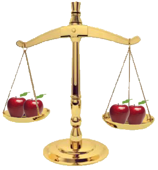 scales weighing apples and apples