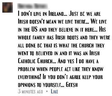 stitions - 'what the...Irish Catholic Church...believed in''